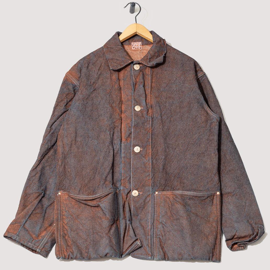 Collared Shepard's Coat 19oz Cross Weave Denim - Red Ochre Dye