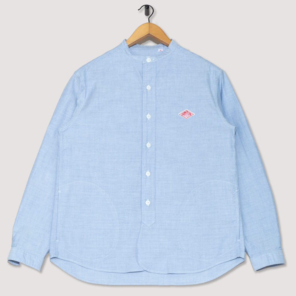 Collarless Oxford Shirt - Blue