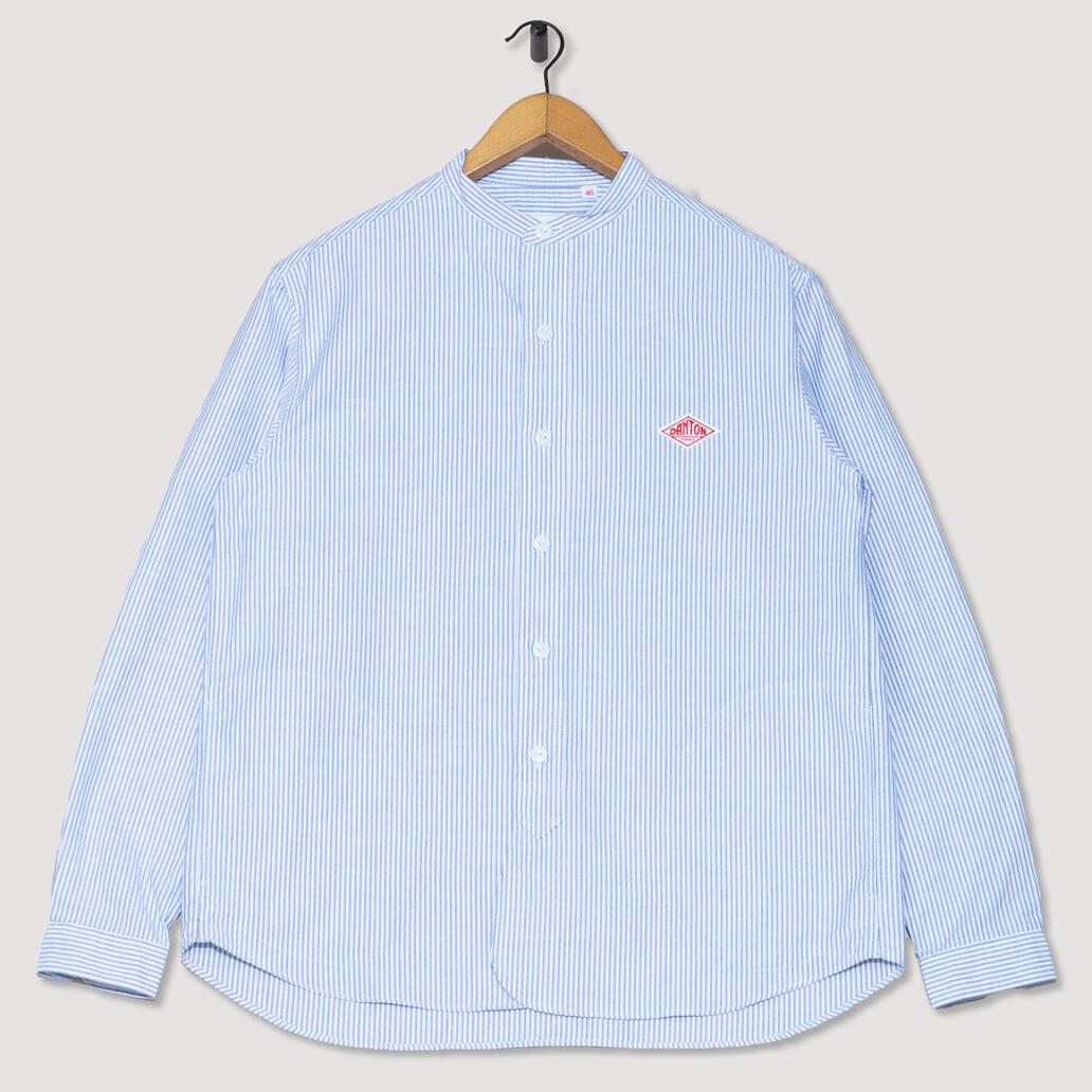 Collarless Oxford Shirt - Navy Stripe