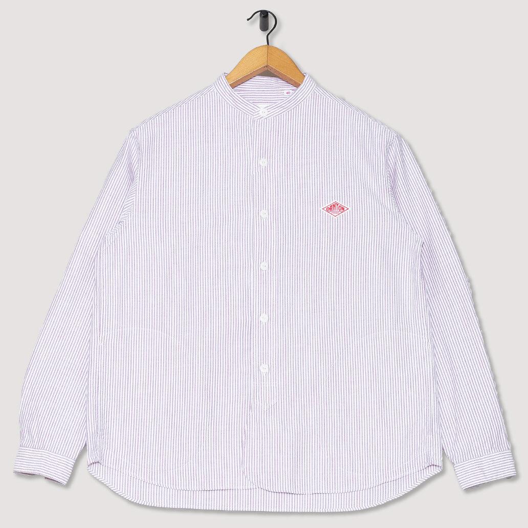 Collarless Oxford Shirt - Red Stripe