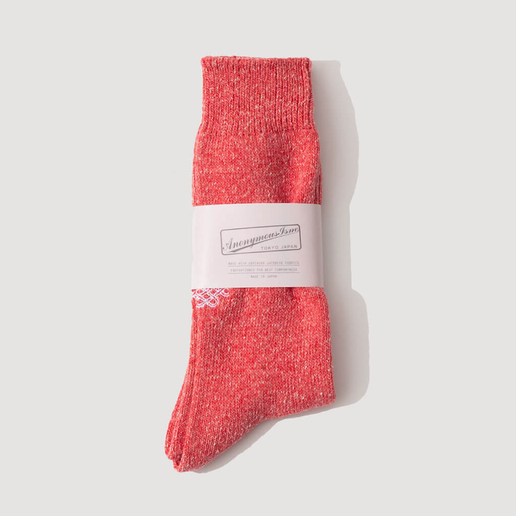 Crest Embroidery Sock (31) - Red