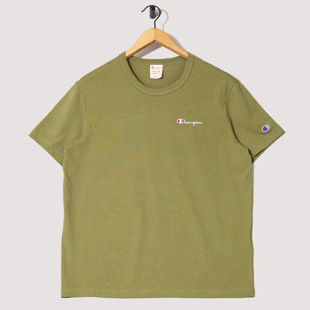 Reverse Weave Small Script Logo T-Shirt - Olive