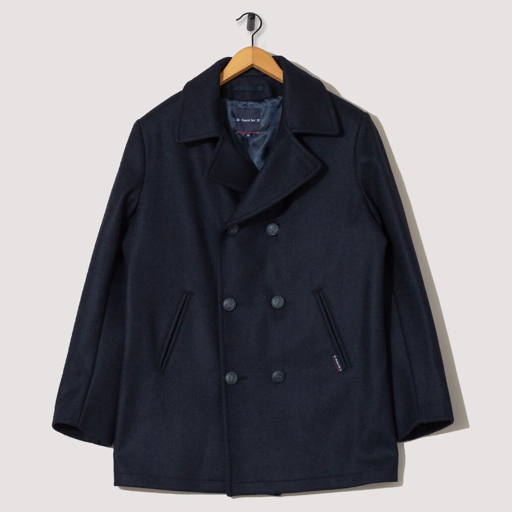 new release huge inventory exclusive shoes Caban Homme Kermor Pea Coat - Navy Blue