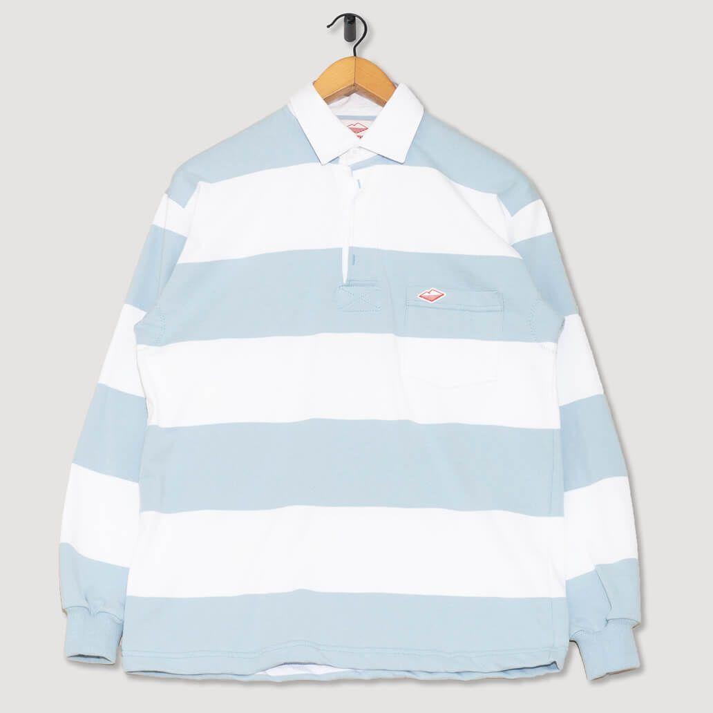 Pocket Rugby Shirt White Light Blue Battenwear Peggs