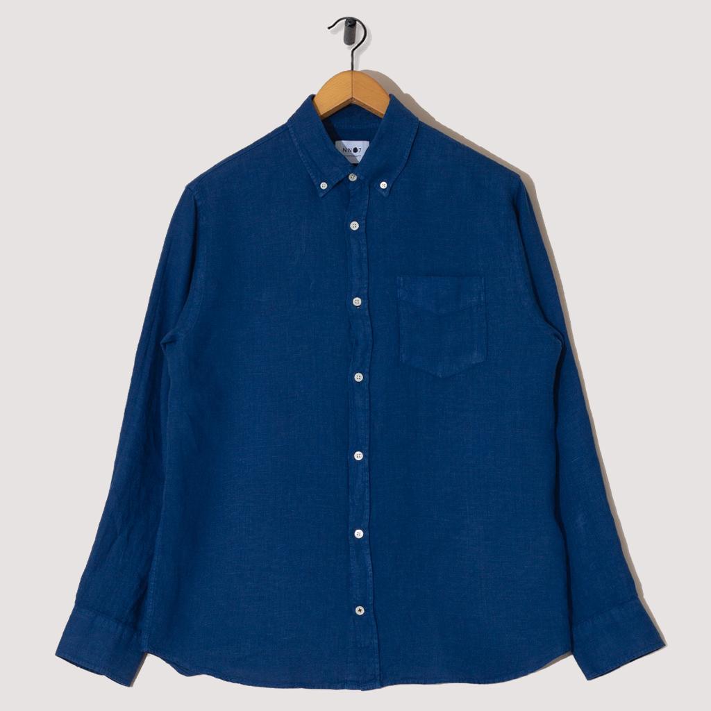 Levon Shirt Linen - Navy