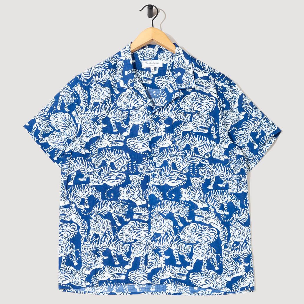 Malick Tiger Shirt - Blue