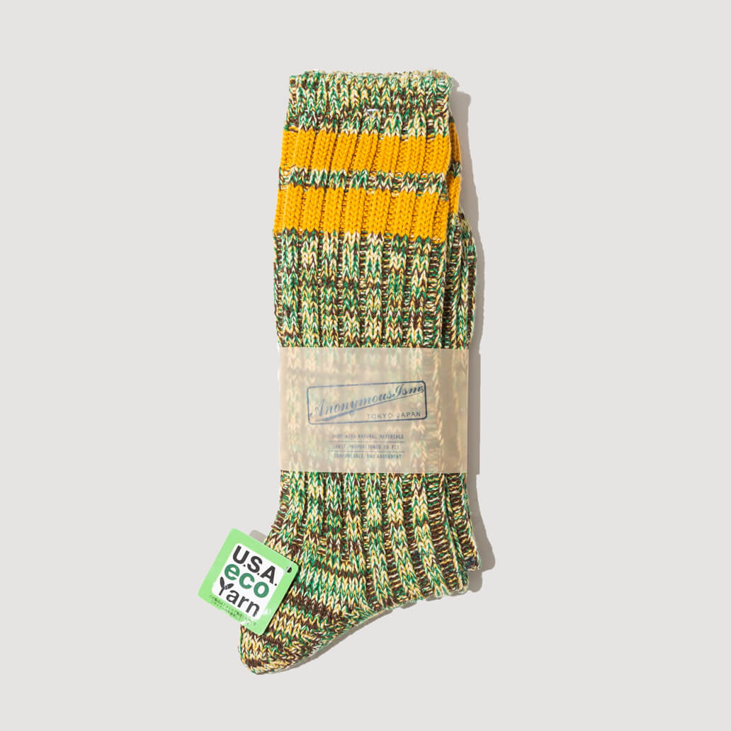 USA Eco Yarn Melange Socks - Green/Yellow (110)